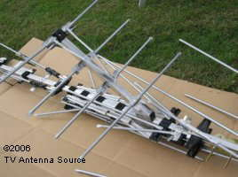 TV antenna assembly  Fold out reflector boom